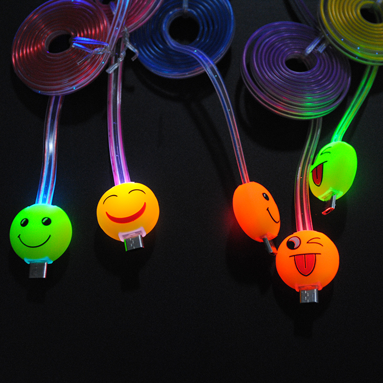 Emoticons emoji Laugh Naughty led light up usb data cable for iphone samsung