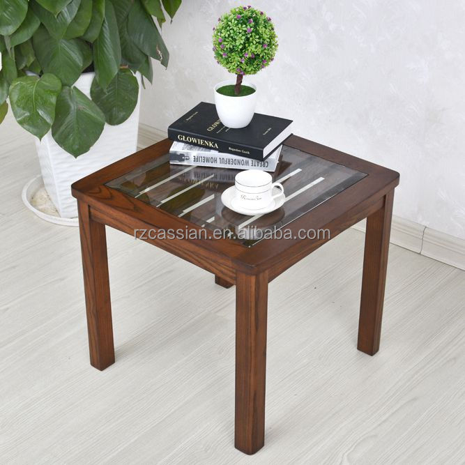Latest design wooden legs glass top telephone side table corner table