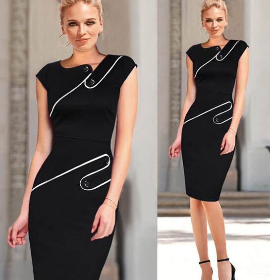 DY0092A europa hot sale high waist strench ladies office ladies body dress