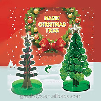 14cm DIY Green Magically Magical Grow Christmas Tree Magic Growing Paper Tree Kids Children Bloom Originality Desktop party toys