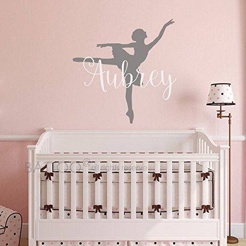 BATTOO Ballerina Wall Decal - Personalized Name Wall Decal - Nursery Custom Name Wall Decal - Ballet Teen Girls Room Name Decal - Ballet Vinyl Wall Art