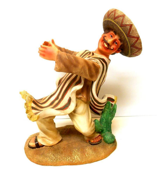 Mexican Man in Sombrero & Serape, Cactus Cast Resin wine holder