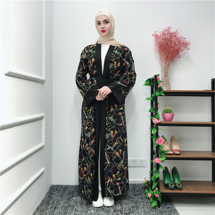 New printing flower soft crepe  muslim women open abaya islamic clothing