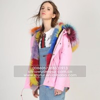 Myfur Pink Shell Fashion Lady Parka Jacket with Real Fur Lining Fox Body Fur Hood