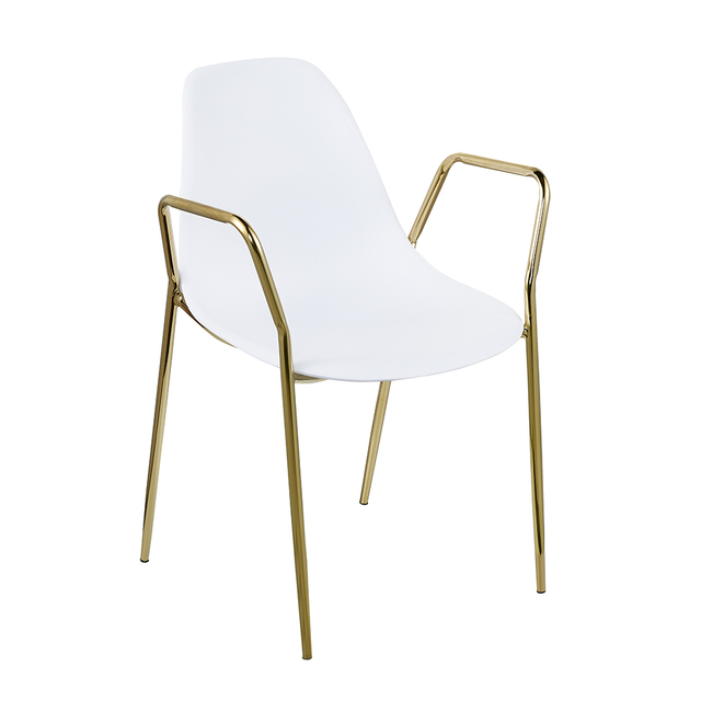 Outdoor Modern White Metal Frame Plastic Pp Dining Chair