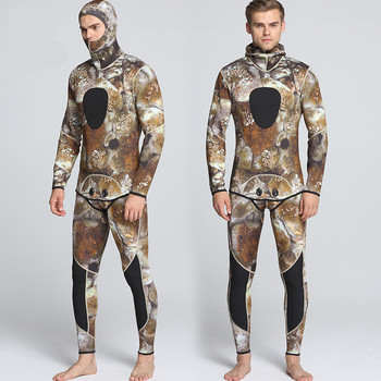 Top Selling 3mm 5mm 7mm Diving Spearfishing suit,Camouflage Neoprene Hoodie Full Body Spearfishing Wetsuit