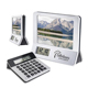 digital desk alarm clock with photo frame and calculator