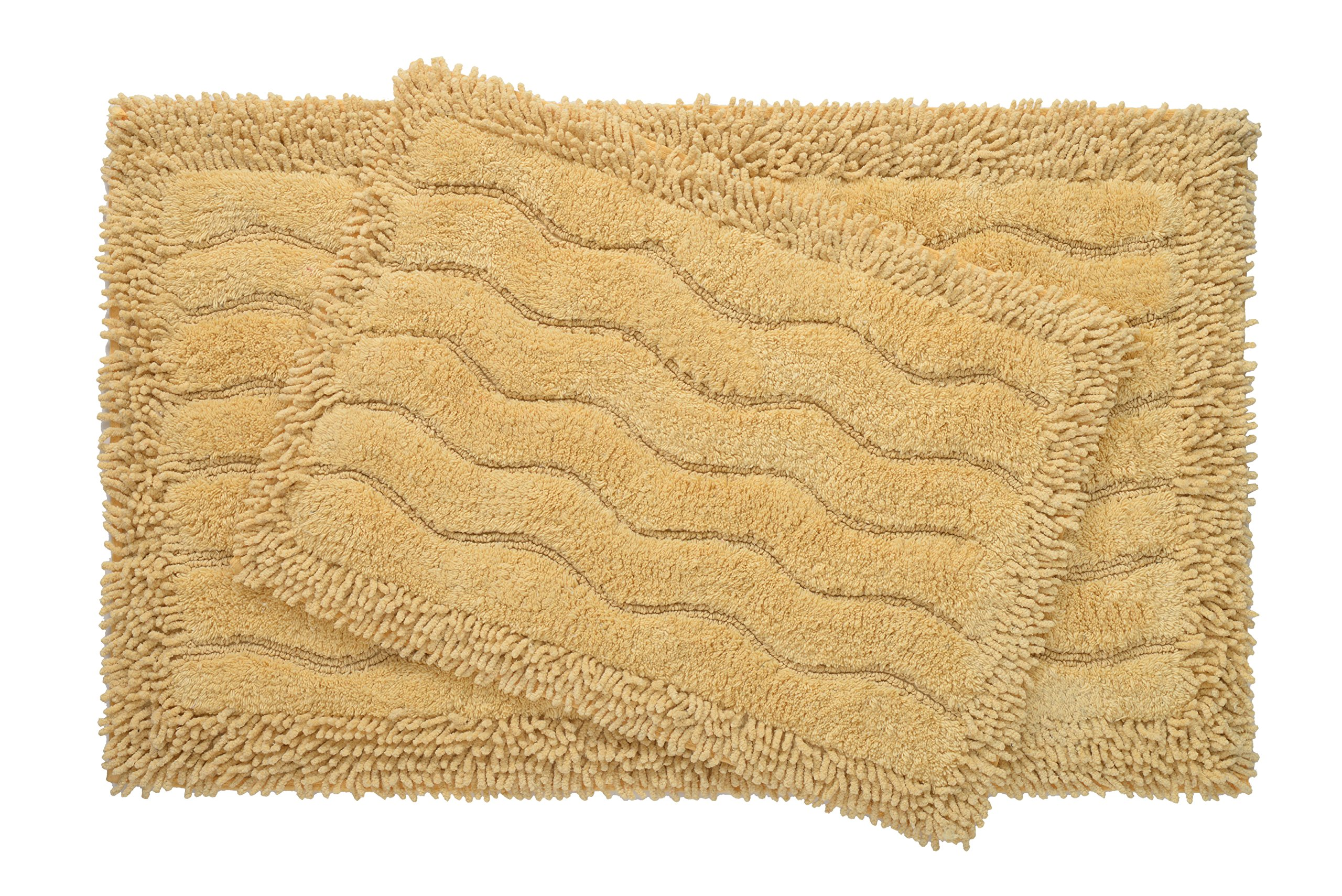 Bed Bath Fashions Medallion Collection 2 Piece 100% Cotton Bath Rug Set with Non-Skid Spray Latex Backing - Super Soft Luxurious Plush Shower Mats - 6 Colors (Gold)