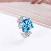 Valentine Gift For Women 925 Sterling Silver 12x12mm Natural Topaz Ring Blue stone Gemstone Jewelry