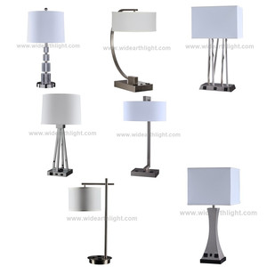 UL Listed Modern Design Brushed Nickel Hotel Bedside Lamp Table Lamp With Outlet And USB Port WT1703