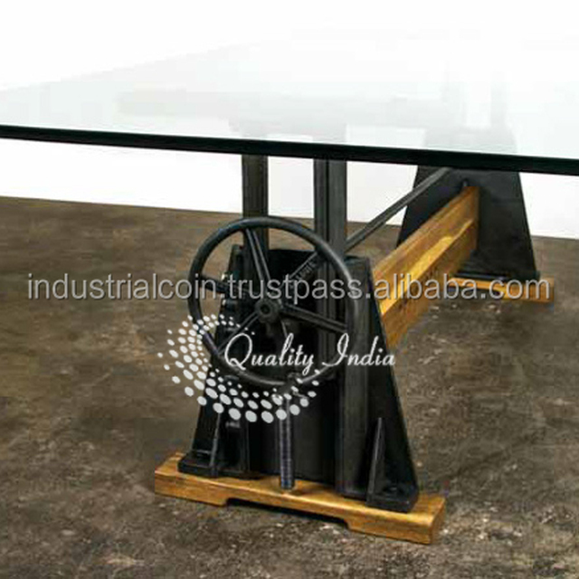 Elegant Height Adjustable Glass Top Dining Table