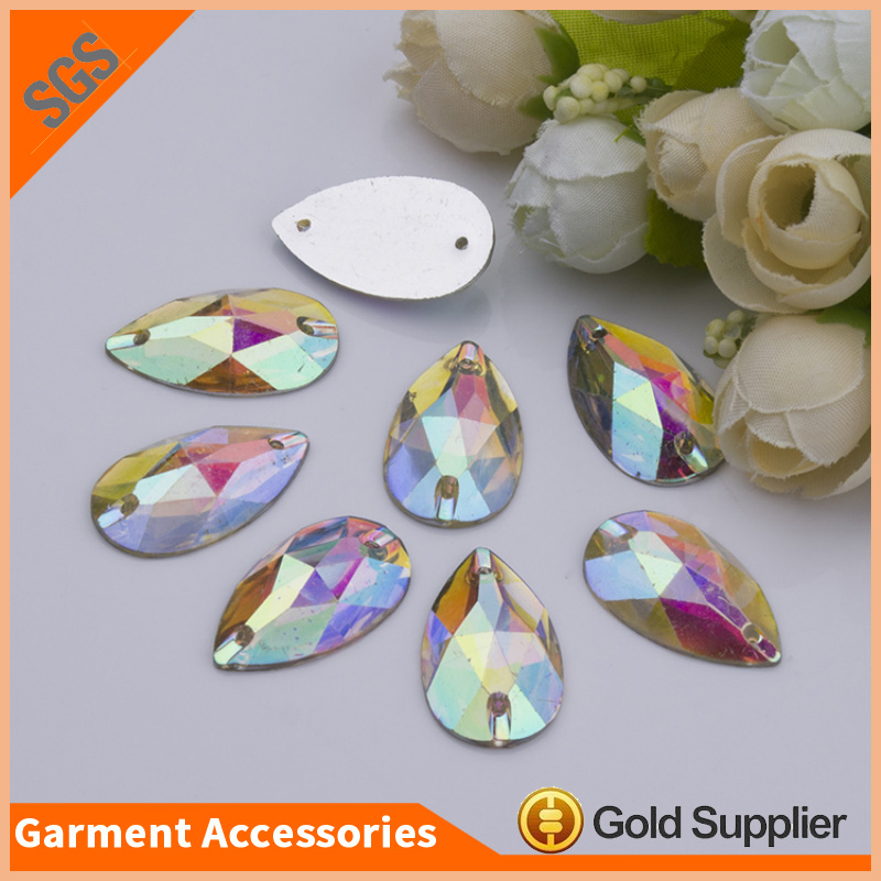Garment Accessories AB Color Sew on Resin Rhinestone Flatback Resin Stones For Dress