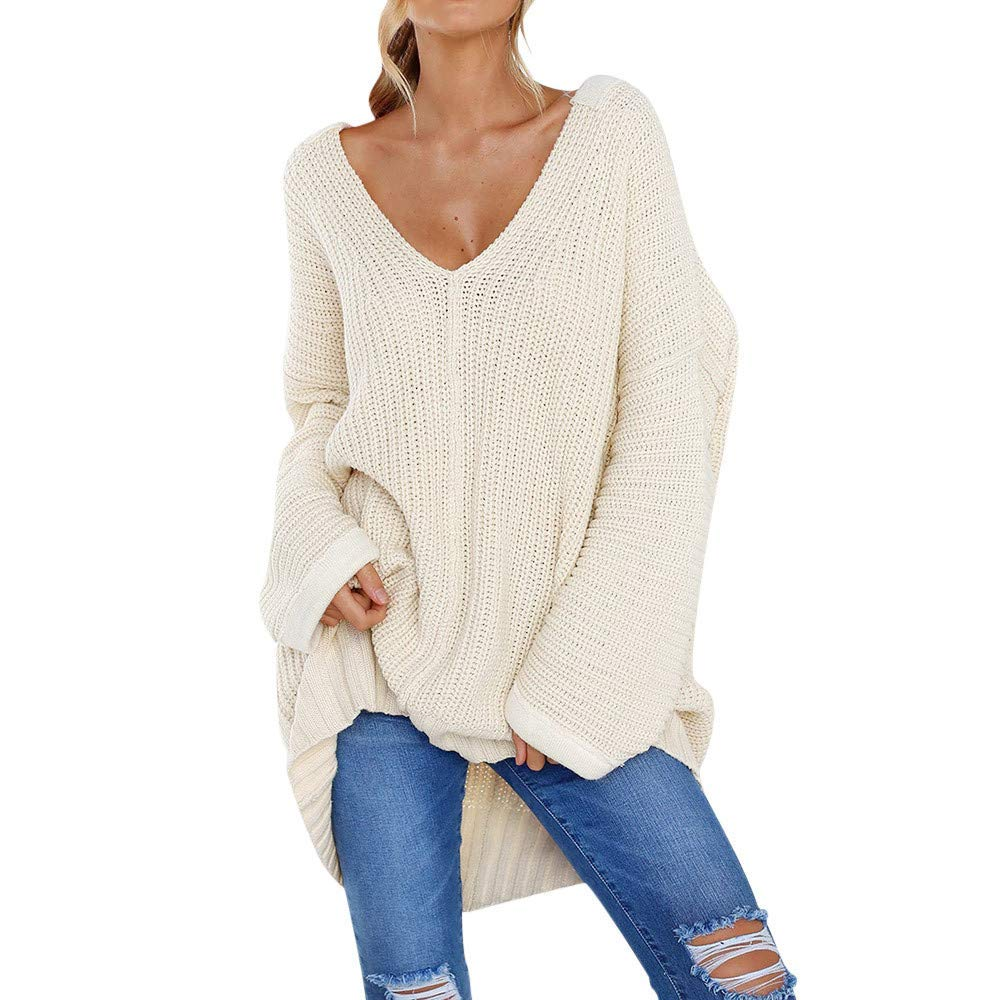 c698d45c5211c Get Quotations · Franterd Women Off Shoulder Knit Jumper Long Batwing  Sleeve Solid Pullover Baggy Sweater S-XXL