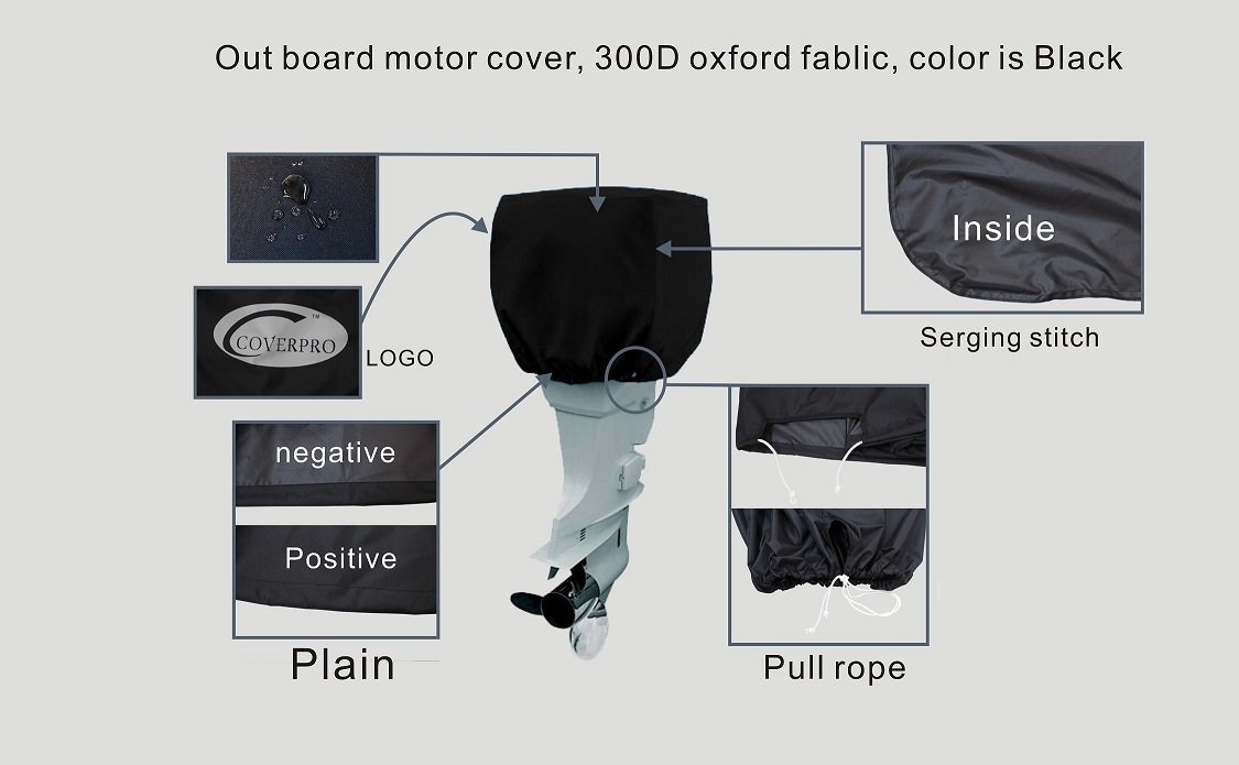 Universal Trailerable Outboard Boat Motor Engine Cover 200-300 Hp, Black