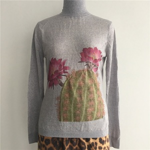 Women's High Fashion New Trend Personalized Cactus Digital Printed 100% Wool Flat Knitted High Neck Pullover Sweater
