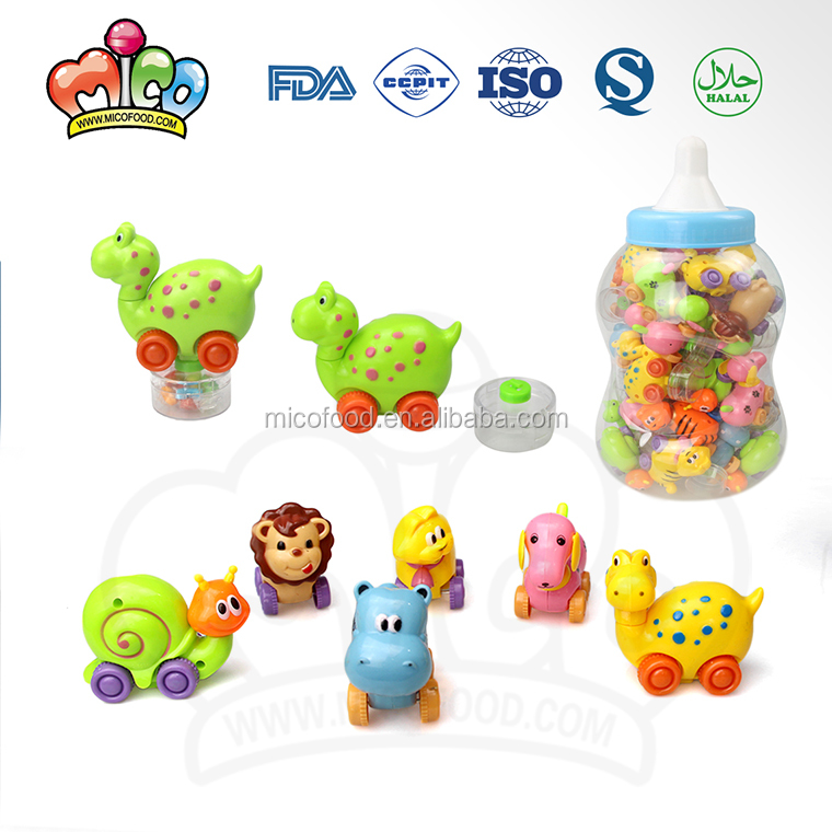 Plastic Pull Back Animal Candy Toys In Jar