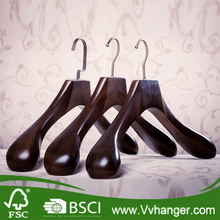 Extra Wide Shoulder Walnut Finish Wooden Coat Hangers