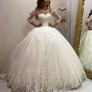 5b86455f4 Bola vestido boda vestidos 2018 media manga encaje apliques Puffy longitud  piso árabe vestidos de novia