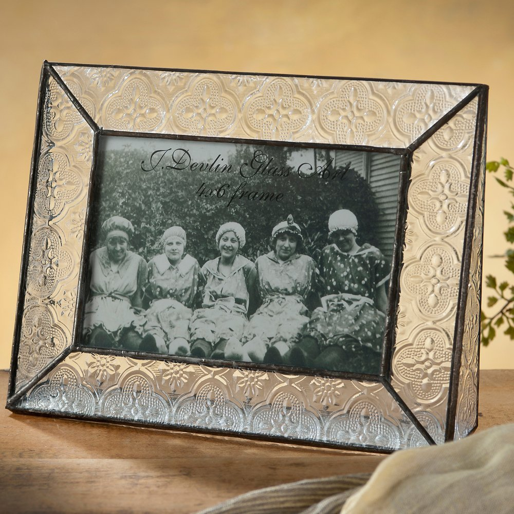 J Devlin Pic 126-46H Clear Vintage Stained Glass Picture Frame Tabletop 4x6 Horizontal Photo
