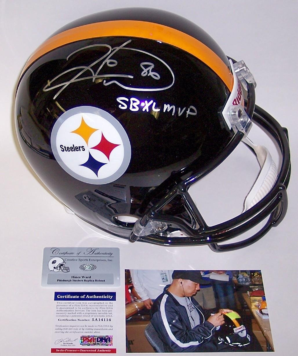 e1214aee123 Get Quotations · Hines Ward Autographed Helmet - Full Size - Autographed  NFL Helmets
