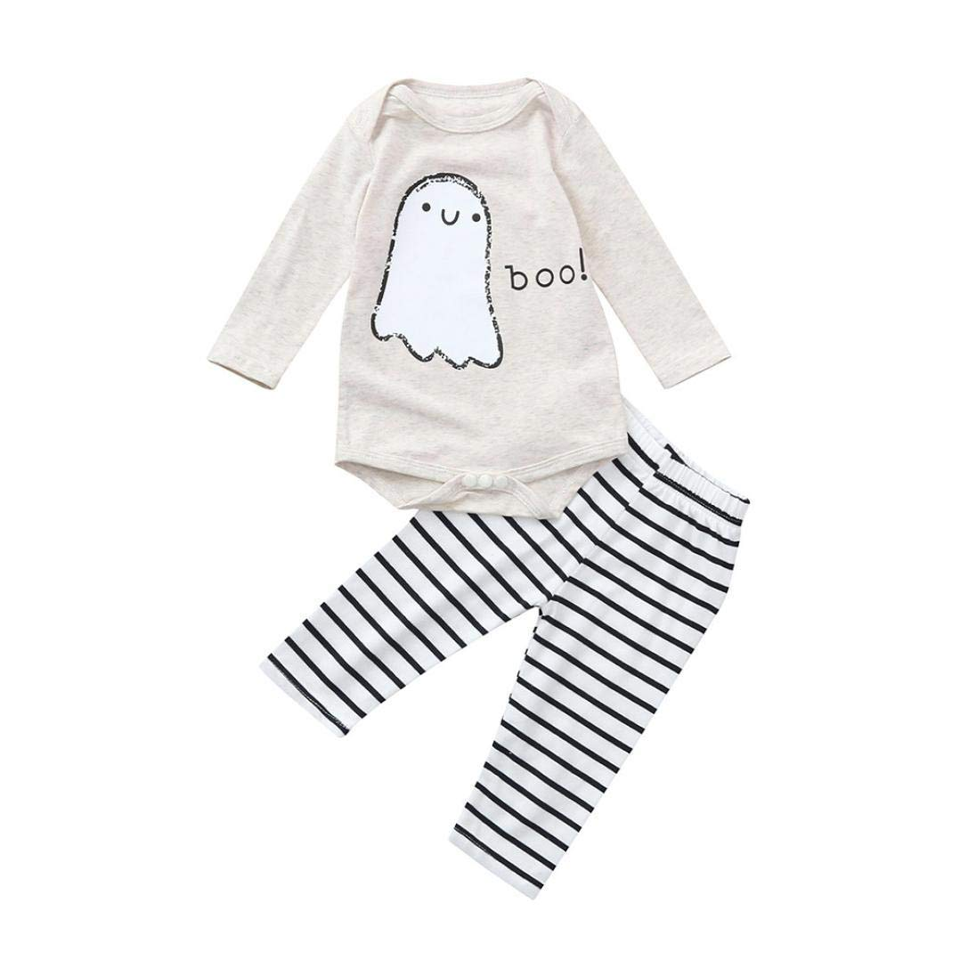 Toddler Infant Baby Boys Girls Letter Print Romper+Striped Pants Halloween Costume Outfits Set (0-6 Months, Beige)