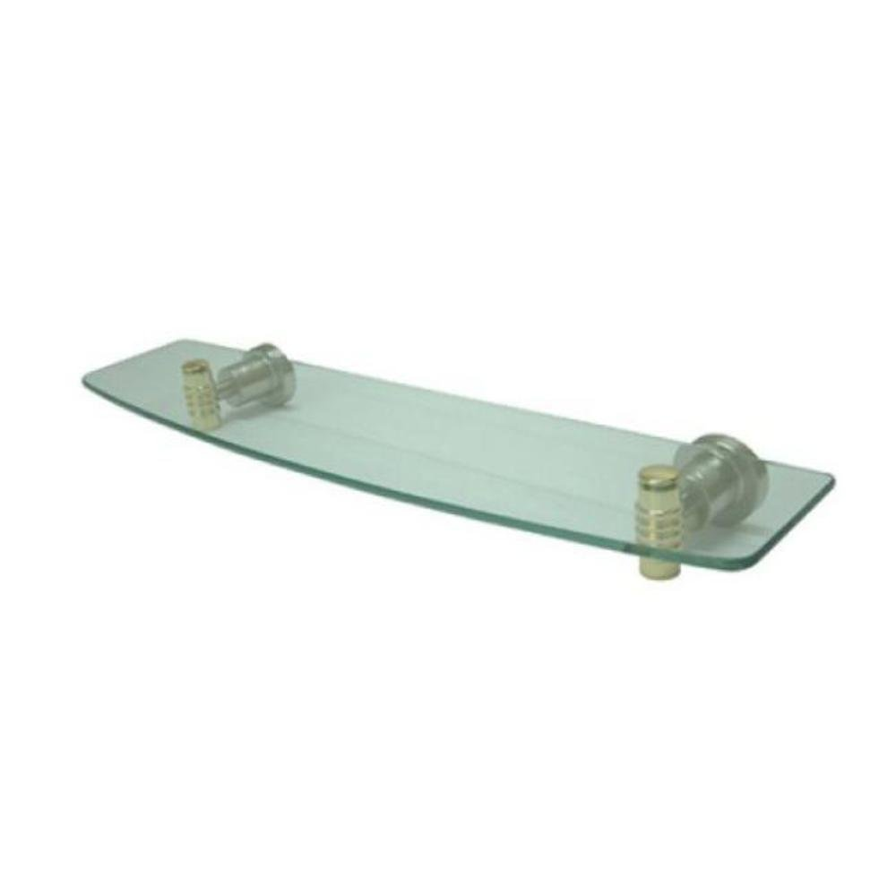 Kingston Brass BAH8619SNPB Milano Cosmetic Glass Shelf, Chrome & Satin Nickel