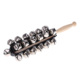 Sleigh Bells Stick Wooden Hand Held with 25 Metal Jingles Ball Percussion Musical Toy for KTV Party Kids Game