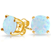 Gold Plated Prong Set Opal 6mm Stud Earrings