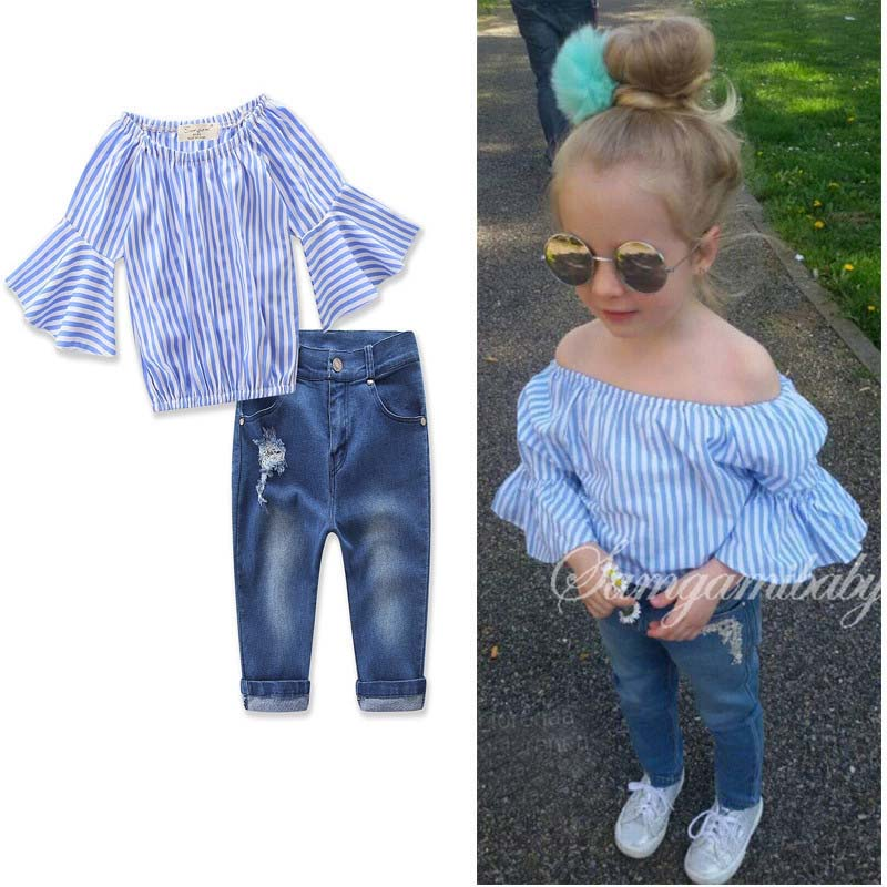 2017 New summer clothes sets for kids Europe and the United States style girls Striped T-shirt and jeans for 3-8 yeas old