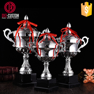 Large medium and small size silver plated metal award trophy cup