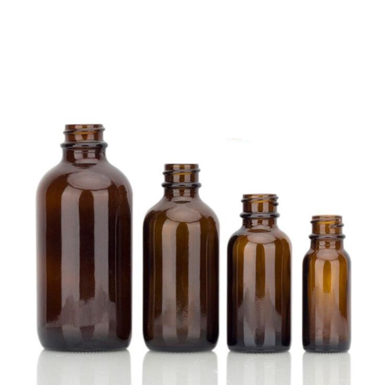 1oz boston round amber glass empty beard oil bottles with childproof dropper