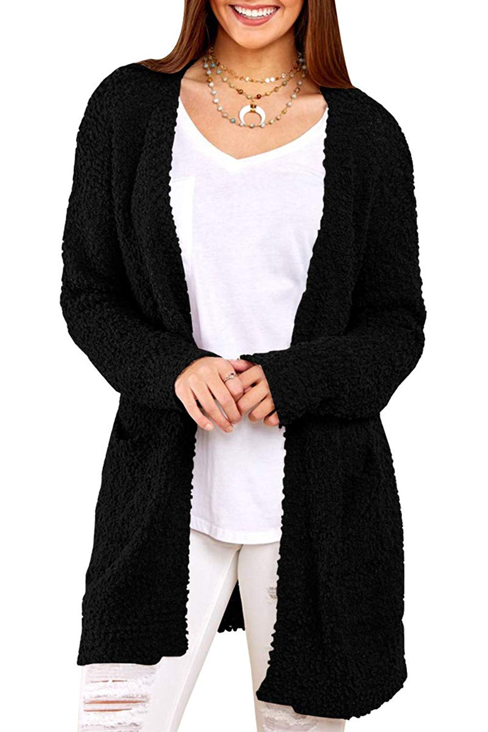 b5a6fabee1 Get Quotations · EastLife Womens Cardigans Sweaters Open Front Sherpa Long  Sleeve Sweater Coat Pockets
