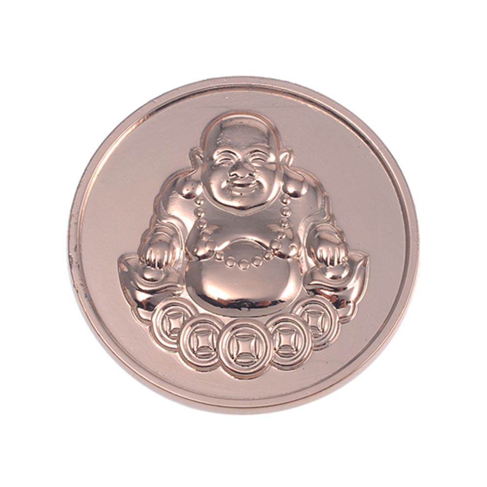 Rose Gold Coin Jewelry Zinc Alloy Round Buddha Coin Pendant PJM001