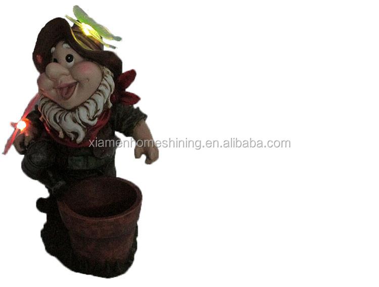 resin led lighting garden gnome with flower pot