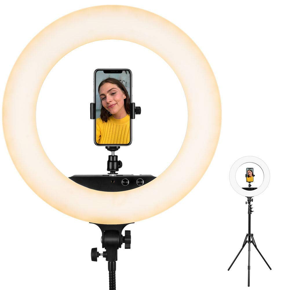 Ring Light - ESDDI 18inch 100W LED Dimmable Ring Light, Adjustable Color Temperature 3200K-5800K, Stand Phone Holder, Hot Shoe Adapter for Portrait YouTube Video, Vlog and Makeup