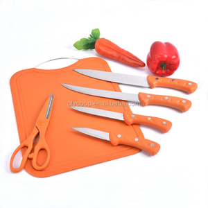 kitchen knife cutting board scissors 6pcs stainless steel Outdoor knife set