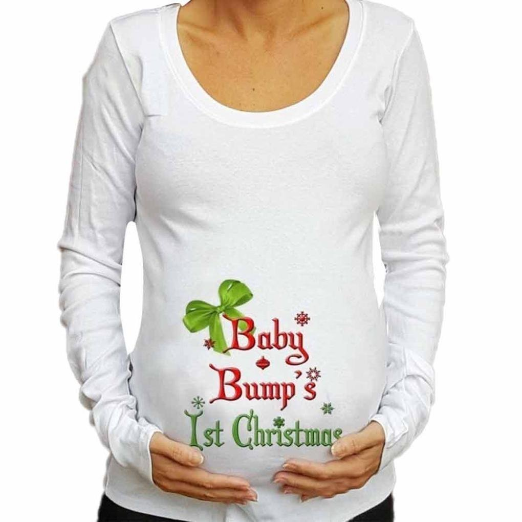 Women Blouse Christmas Daoroka Funny Pregnant Clothes Women T-Shirt Christmas Long Sleeve Maternity Loose Tees Tops Casual Pullover Ladies Autumn Christmas Baby for Maternity Blouse (L, White)