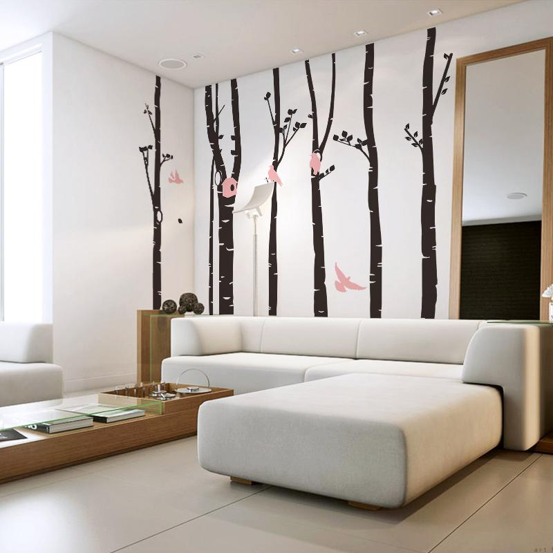 Living Room Tree Art: Large Wall Stickers Landscape Wall Tree Decals For Nursery