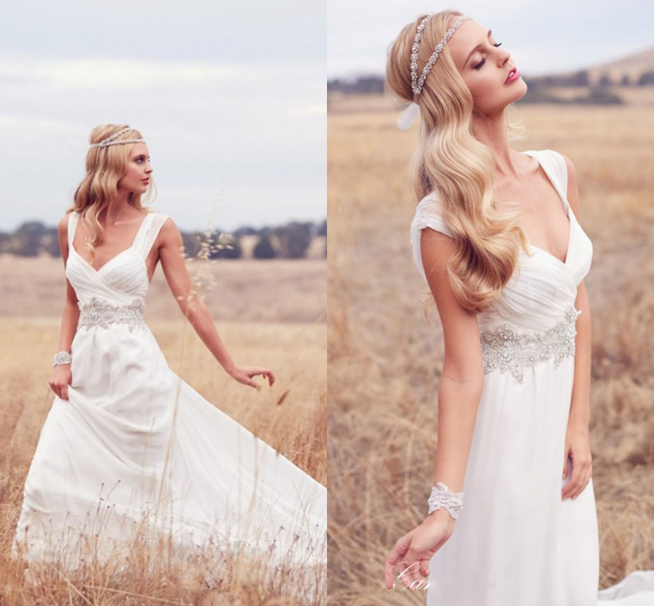 Rustic Wedding Dresses: Simple Lace Backless Rustic Wedding Dresses 2015 With
