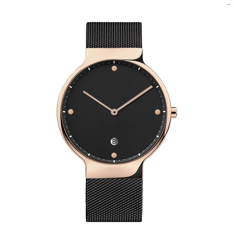 Build Brand Your Own Watches  plating  Minimal Mesh Mens Simple Stylish Black Watches  Calendar  Relojes