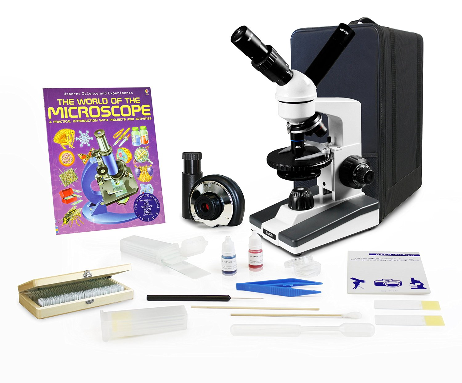 Parco Scientific Dual View Elementary Level Microscope, Rechargeable Battery, Microscope Book, Microscope Discovery Kit, 50 Prepared Slides Set, Microscope Carrying Case, Free Gift Package ($20 Value)