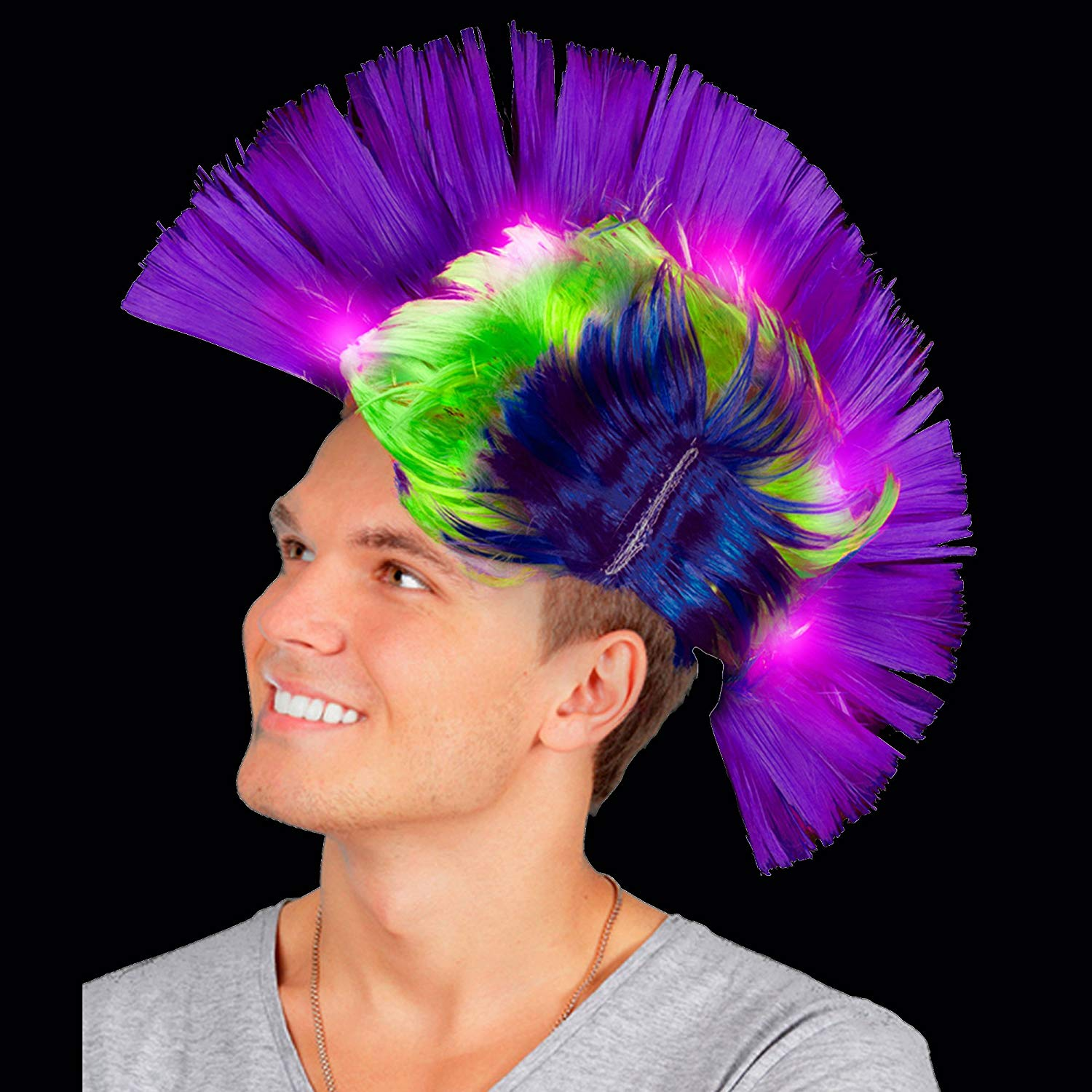 LED Light Up Mohawk Wig Light Up... Fun Central AD154 Purple Green and Yellow