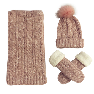 194efcc8909e Wholesale Winter 3 in 1 Women Soft Warm Thick Cable Knitted Cute Hat Scarf  And Glove