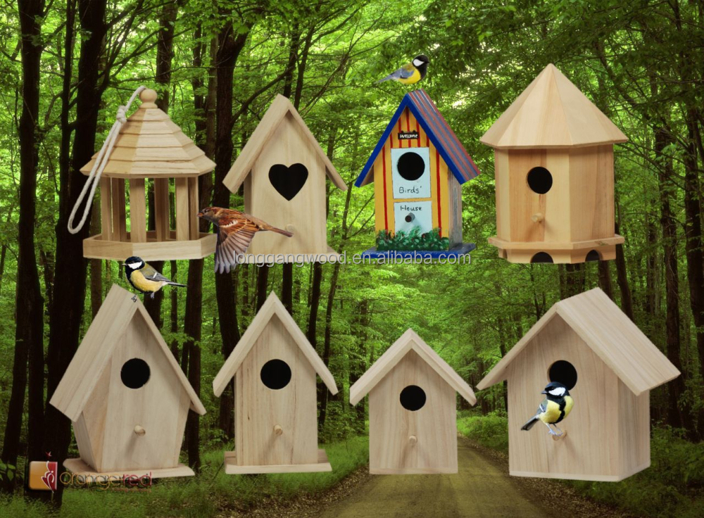 wooden birdhouses with removable roof from durable FSC wood