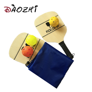 pickleball with wood rackets set hollow pickleball ball set