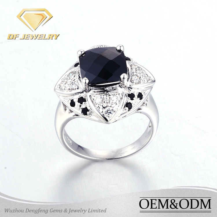 wedding rings gold 18k rhodium plated black white cz for sale