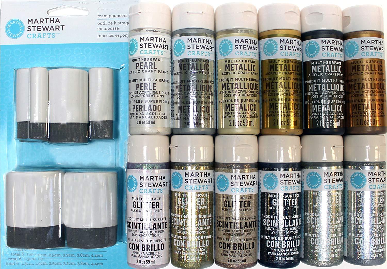 Martha Stewart Crafts Multi-Surface Metallic and Glitter Acrylic Craft Paint Set, PROMO857 (12 Colors)