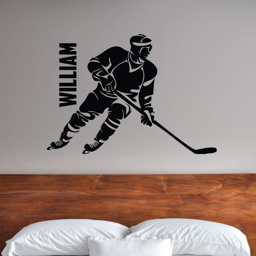 Custom Boys Name Hockey. -0288- Personalized Boys Hockey Wall Decal - Hockey Theme Wall Decal - Sports Decal - Ice Hockey - Rink