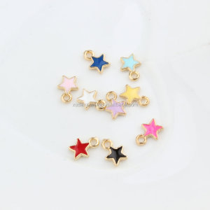 Cute Gold color 6*9mm Enamel Star Charms, Metal Colorful mini Star Pendant For DIY Jewelry Making Accessories