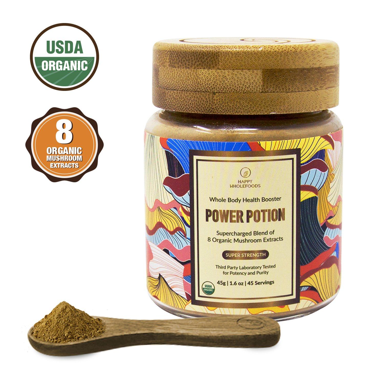 POWER POTION High Potency Mushroom Powder Blend - Mushroom Extract Supplement - 8 Medicinal Mushrooms - Cordyceps, Reishi, Lions Mane, Chaga, Turkey Tail, Shiitake - USDA Certified Organic,1.6oz (45g)